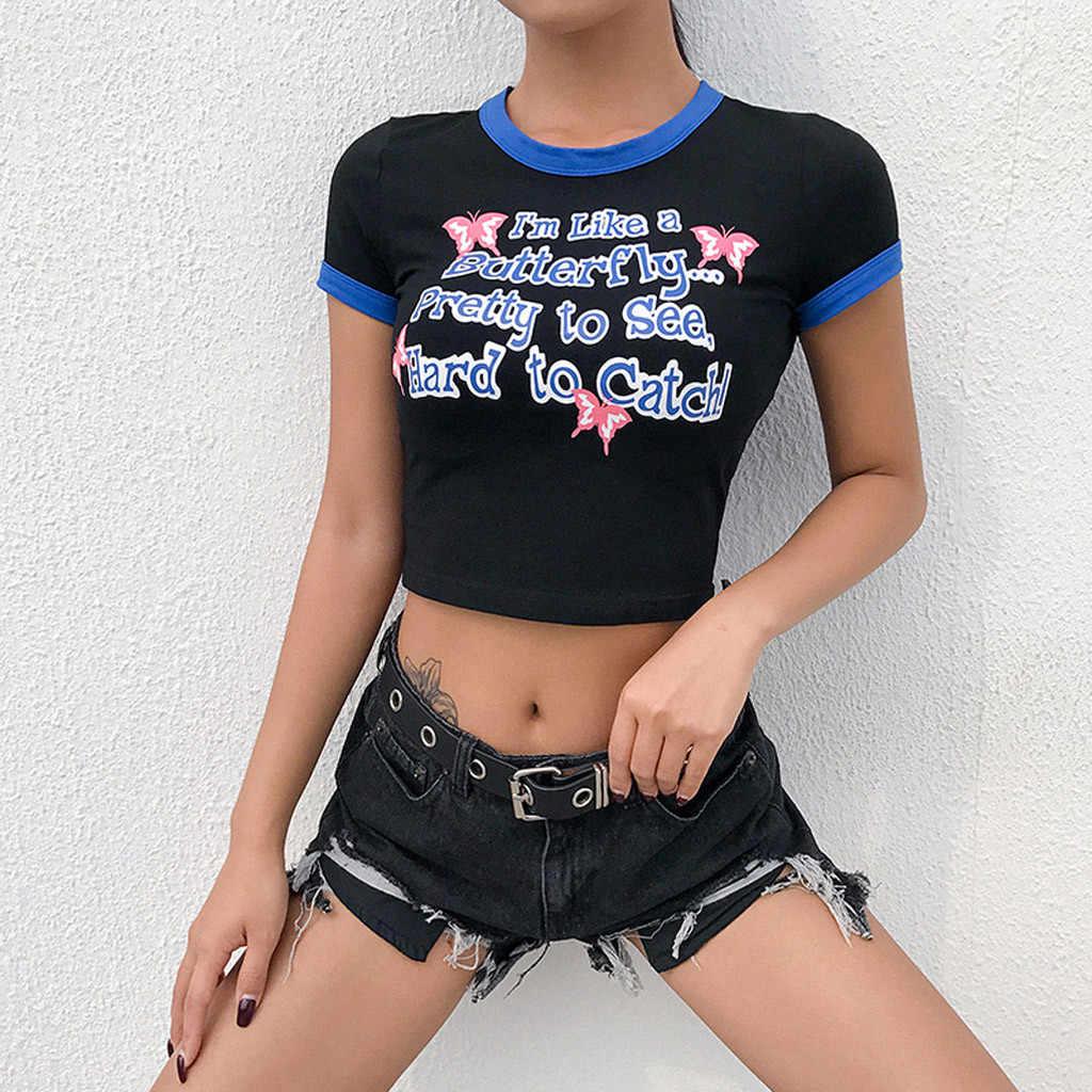 Kancoold T-shirt Wanita Surat Dicetak Lengan Pendek Pusar T Kemeja Wanita Kasual Streetwear Fashion Baru Women2020FEB20