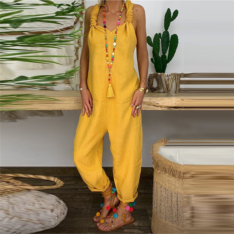 Women's Beach Sleeveless Bohemian Holiday Long Jumpsuit Casual Loose Jumpsuit Women Casual Backless Jumpsuit Loose Romper