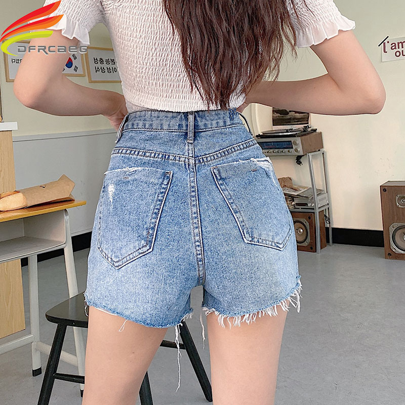 Summer Style Women Ripped Hole Denim Street Wear Female High Waist Mini Short Jeans Lady Bottoms Plus Size Short Mujer