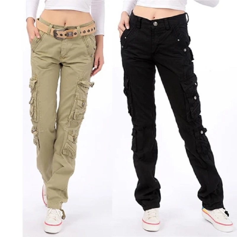 Pleated Multi-pocket Casual Cargo Pants For Streetwear Loose Cargo Pants Women Plus Size Trousers Fashion Hip Hop Pants