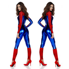 DM COS 2019 Game Festival  Party Uniform Role Playing PU Faux Leather Siamese Spiderman Costume Stage Halloween
