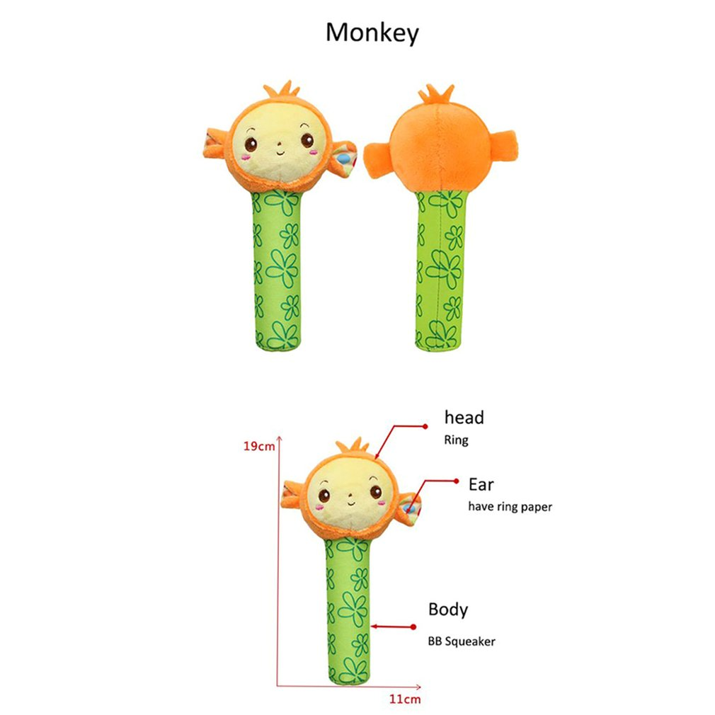 Baby Creative Cute Cartoon Animals Doll Toys Baby Squeaky Plush Stroller Hang Bell with Sound Hand Rattles  Playing Soothing Toy