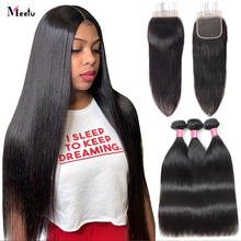 Indian Straight Hair Bundles with Closure Transparent Closure with Bundles Meetu Hair Non Remy Human Hair Bundles and closure
