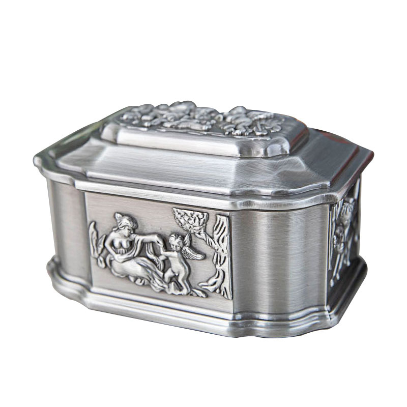 2020 Vintage Zinc Alloy Angel Storage Box Creative Metal Angel Carved wedding birthday gift Trinket Jewellery box