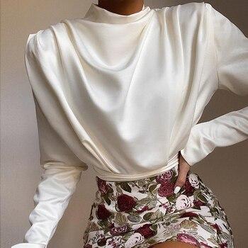 цена на 2020 Satin Elegant Vintage Blouse Long Sleeve Pleated High Waist Black Pink White Color Bodysuit For Women