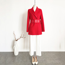 Shuchan Red Woman Short Woolen Coat Adjustable Waist Turn-down Collar Double Breasted Solid  Abrigos Mujer Elegante Fashionable