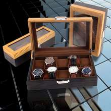 Watch-Box Jewelry Organizer Wooden Luxury Glass-Top for Men 6-10/12-Grids New