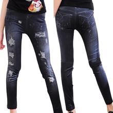 Fashion Women Elastic Leggings Skinny Ripped Hole Jeans Trousers Pencil Pants