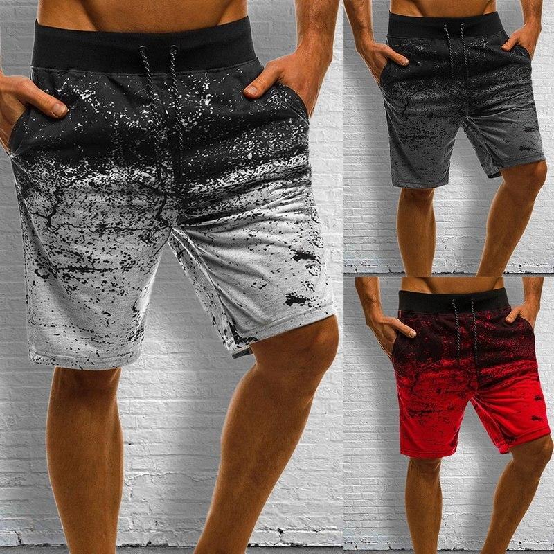 MONERFFI Men Casual Shorts Fashion Printed Joggers Short Sweatpants Summer Drawstring Hip Hop Slim Workout Shorts Plus Size