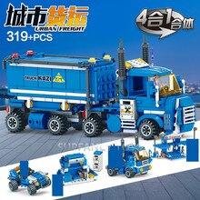 319Pcs City URBAN FREIGHT Truck Model Building Blocks Sets Playmobil Brinquedos Bricks Educational Toys for Children цена 2017