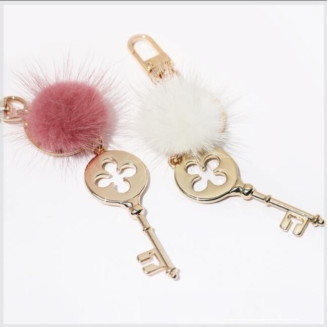 1 Pieces Luggage Handbags Hardware Accessories Metal Handbags Premium Mink Hair Key Pendant Decoration Buckle