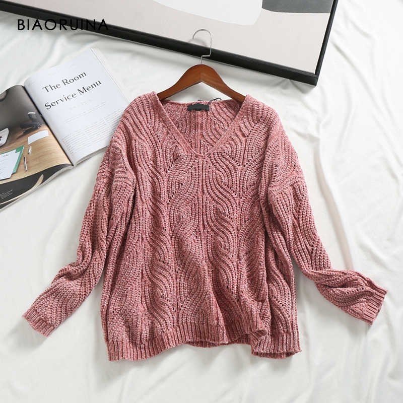 BIAORUINA Women's Chenille Solid Winding Knit Sweater Female V-neck Sweet Pullover Ladies Elegant Loose Sweater Women Fashion