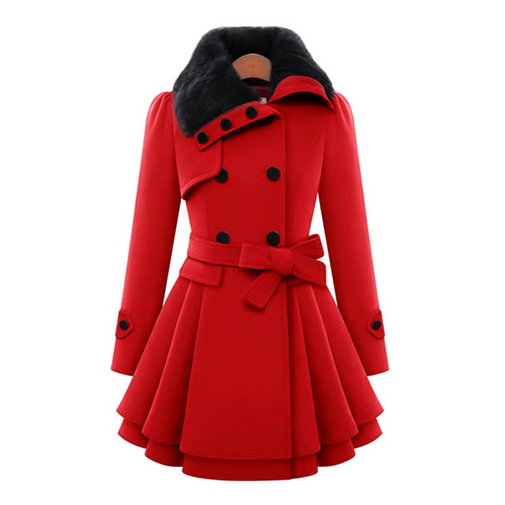 Wipalo Autumn Winter Plus Size S-5XL Women Fashion Faux Fur Lapel Double Breasted Warm Trench Thick Wool Trench Coat With Belt
