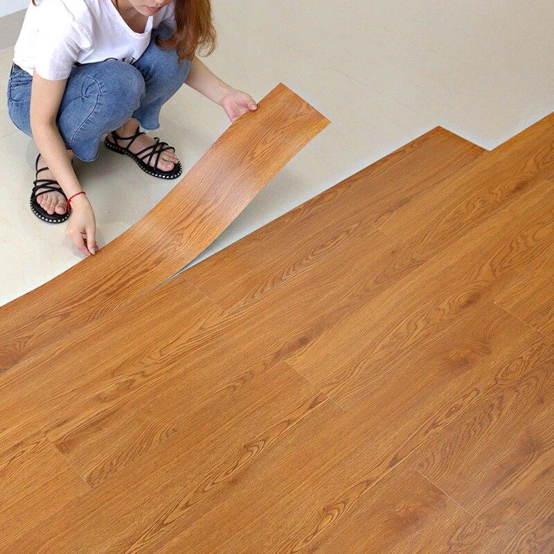 wood pattern floor stickers bedroom living room kitchen waterproof flooring tile sticker