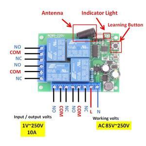 Image 2 - Contrôleur sans fil universel de RF de Module de récepteur de relais de 433MHz 110V 220V 10Amp 2200W 4CH pour louvreur de lumière/LED