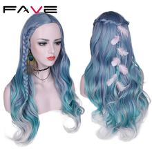 FAVE Hair Mixed Violet Blue Green Light Gray Color Heat Resistant Fiber Long Wavy Synthetic Wigs For Women Middle Part Party Wig