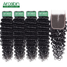 Aircabin Deep Wave Human Hair Bundles With Closure 4 pcs/lot Brazilian Hair Weave Bundle With Lace Closure Non Remy Extensions(China)