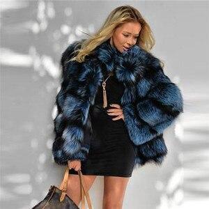 Image 4 - 2020 Winter Vrouwen Real Fox Fur Jacket Met Stand Kraag Lederen Natuurlijke Zilveren Vos Bont Jas Hoge Kwaliteit Bont overjas