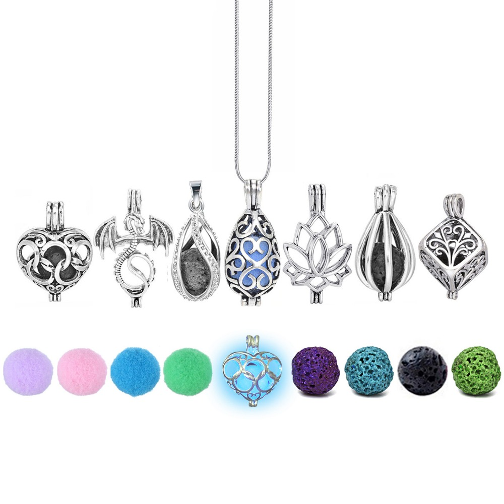 Diversified Felt Glow Balls Lava Stone Aromatherapy Antique Vintage Necklaces Locket Perfume Essential Oil Diffuser Necklace