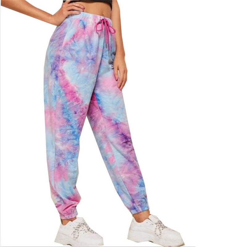 Women Tie-dye Printed Sweatpants Hodmewear Casual Workout Dancing Show Hip Hop Trousers Pants 2020 Summer Trend Dropshipping