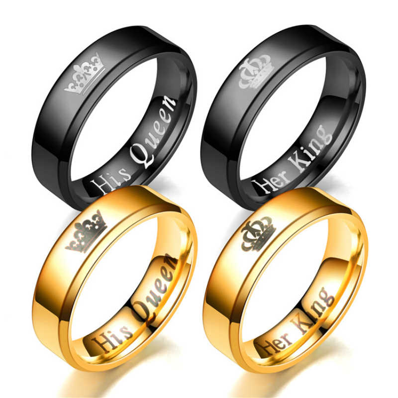 Nouvelle mode biseau couronne motif anneau classique lettre son roi sa reine Couple romantique anneau pour Couple anniversaire cadeau