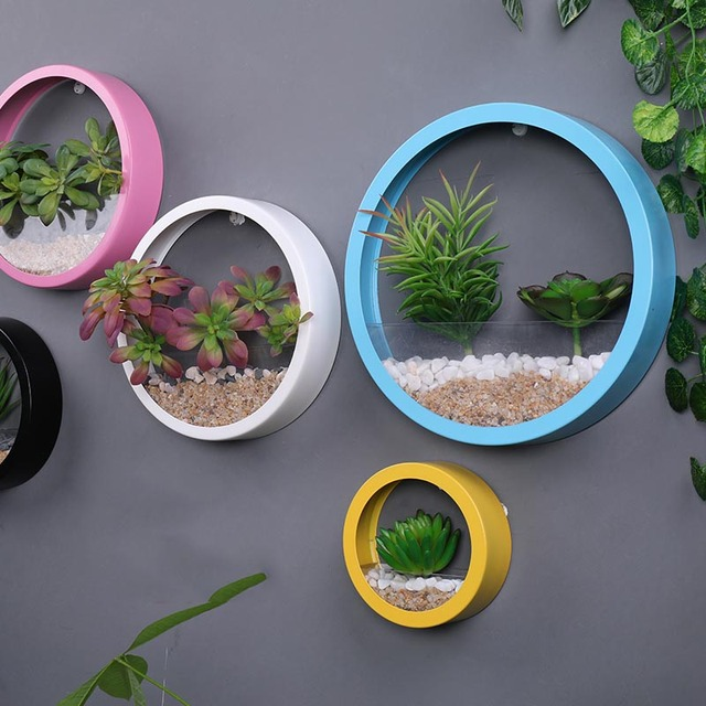 Wall Planter Hydroponics Plant Acrylic Pot Iron Art Solid Color Hanging Vase Wall Mount Home Decoration Crafts Flower Vases Gift 3