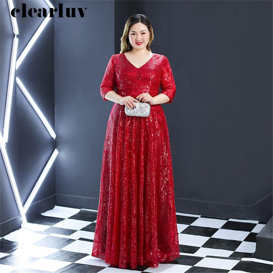 Sequins Evening Dress Burgundy Plus Size Women Party Dresses 2019 T255 V-neck Robe De Soiree Three Quarter Sleeve Evening Gowns