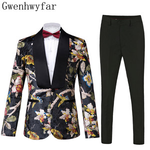 Image 1 - Gwenhwyfar Knappe Luxe Mannen Pak Hoge Kwaliteit Bloemen Patroon Jas + Broek Nieuw Design Grote Verkoop Mannen Trouwpak Beste mannen