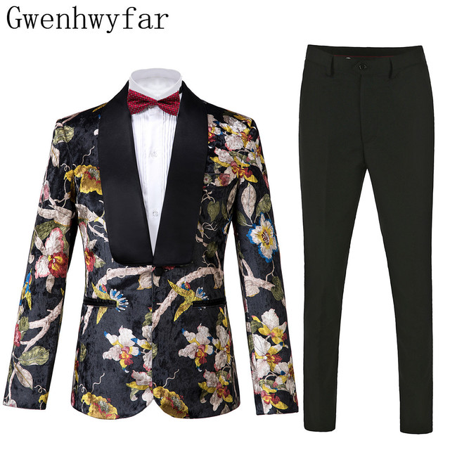 Gwenhwyfar Knappe Luxe Mannen Pak Hoge Kwaliteit Bloemen Patroon Jas + Broek Nieuw Design Grote Verkoop Mannen Trouwpak Beste mannen