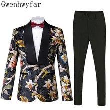 Gwenhwyfar Yakışıklı Lüks Erkek Takım Elbise Yüksek Kaliteli Çiçekler Desen Ceket + Pantolon Yeni Tasarım Büyük Satış Erkekler Düğün Takım Elbise En Iyi erkekler