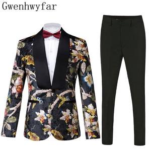 Image 1 - Gwenhwyfar ハンサム高級男性のスーツ高品質花柄ジャケット + パンツ新デザイングレート販売男性の結婚式のスーツベストマンスーツ男性