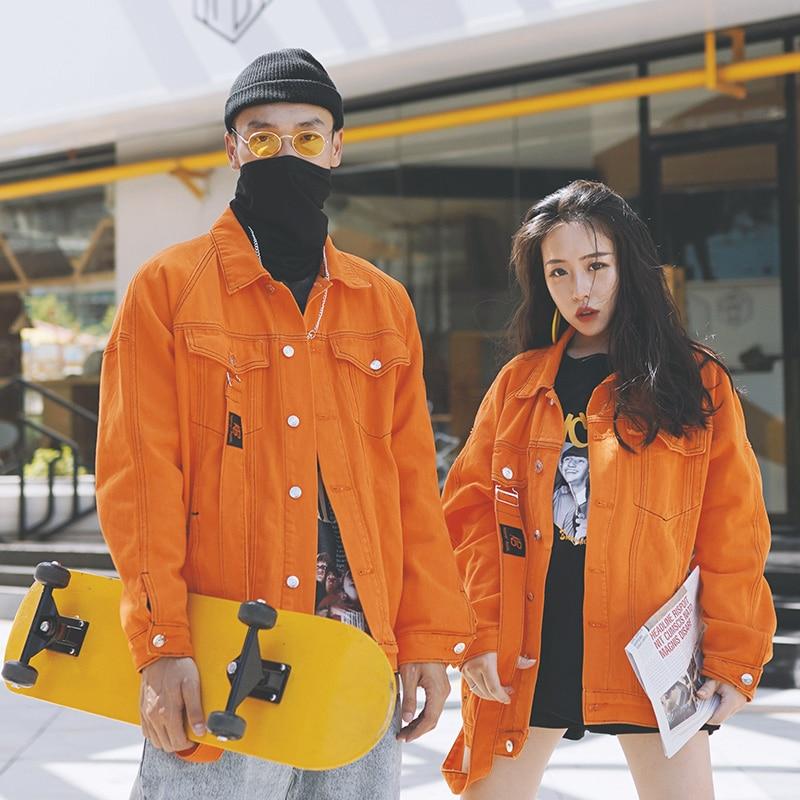 Plus Size Streetwear Denim Jacket Women/Couples 2020 New Fall Cowboy Coat Harajuku Vintage Clothes Orange Bomber Jacket NZY127