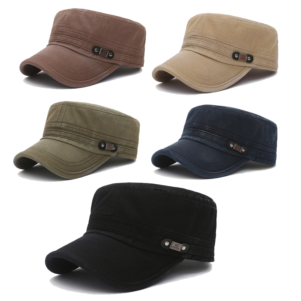 2019 New Korean Casual Men'S Flat Top Hat Outdoor Sun Hats Old Washed Military Cap  Simply Women'S Mens Atlantis Cuba Cap