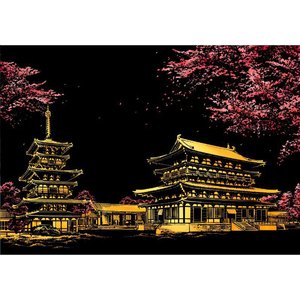 DIY Cherry Blossom Scratch Painting Postcard Night Scene Scraping Painting Famous Buildings Art Drawings Child Educational Toys(China)