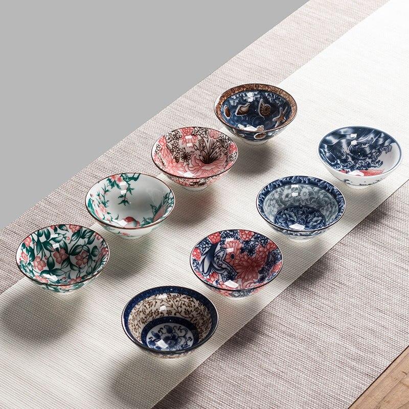 8pcs Ceramic Drinkware Teaware Chinese KungFu Tea Set Teacup Sake Cups 50ml Master Cup Small Tea Bowls Decor Gift