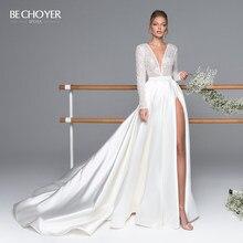 BECHOYER-Vestido de boda de satén de manga larga de lujo, traje Sexy con cuentas, tren de línea A, ilusión, Vestido de novia Princesa, EL05, 2020