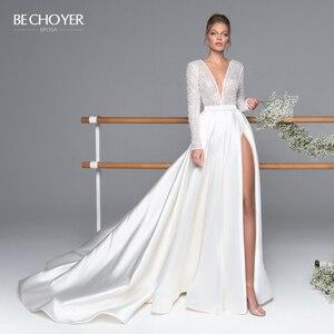 Image 1 - Bechoyer Luxe Lange Mouwen Satin Wedding Dress 2020 Sexy Kralen A lijn Trein Illusion Princess Bride Gown Vestido De Noiva EL05