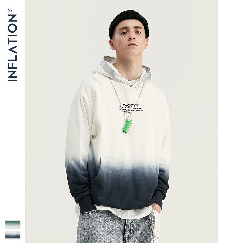 INFLATION 2019 Men Tie-dye Autumn Hoodies Oversized Mens Hoodies Loose Fit Streetwear Men Tie Dye Hoodies Cotton 9640W