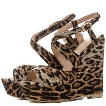 YECHNE Summer Women Wiggen Sandals High Hooks Platform Women Hook Luipaard Shoes Peep Women Sandals Zapatos Mujer