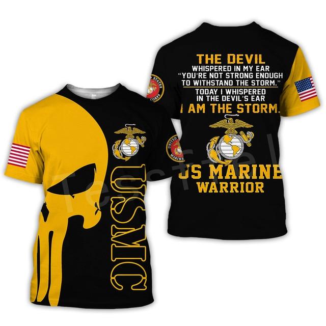 Tessffel America Marine Camo Skull Soldier Army NewFashion Casual 3DPrint Unisex Summer Funny T-Shirt Short Sleeve Men/Women B-2 2