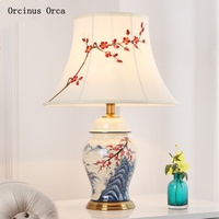 Chinese creative ceramic desk lamp living room study bedroom bedside lamp modern luxury LED color painting lotus cloth desk lamp