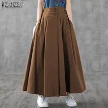 Outono maxi saias zanzea cintura alta elástica saia das mulheres do sexo feminino vintage a linha saias casuais solto escritório wear bottoms oversize
