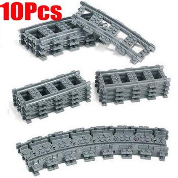 10 unids/lote ciudad tren carril recto rieles curvos figura bloques de construcción juguetes para los niños lepines compatibles
