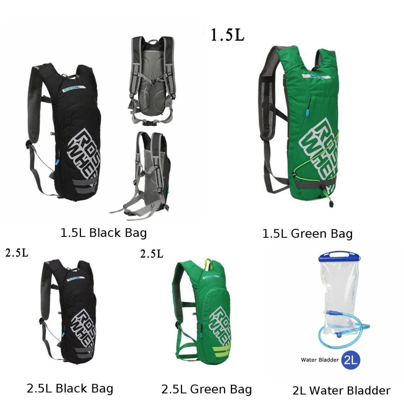 ROSWHEEL Bicycle Bike 1.5//2.5L Water Bladder Hydration Backpack Shoulder Bagpack