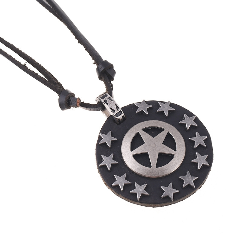 Captain America Vintage Art Leather Rope Punk Alloy Five-pointed Star Leather Necklace Sweater Chain for Men Fashion Jewelry