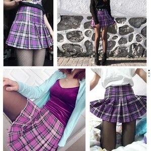 Image 4 - 女性のスカート韓国風ハイウエストプラスサイズ原宿aラインプリーツチェック柄ミニ女性のスカートmujer段faldas mujerモーダ2020