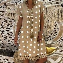 Kadın Polka Dot baskı kısa kollu v yaka elbiseler Boho elbise Sundress kadın yaz rahat gevşek elbise moda artı boyutu