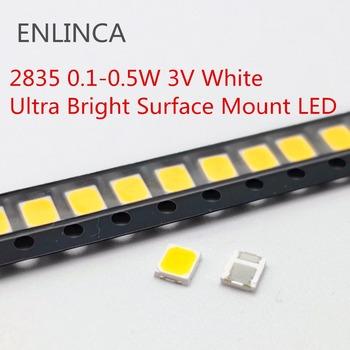 100 sztuk 0 1-0 5W LED SMD 2835 1 2W 0 5W 0 2W 0 1W 3V koraliki światło zimne ciepłe biała powierzchnia góra PCB dioda elektroluminescencyjna lampa tanie i dobre opinie ENLINCA Nowy 3528 0 1-0 5W LED 3v-18v Do montażu powierzchniowego
