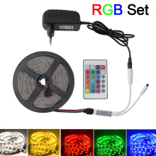 DC 12V Led Strip Light 2835 RGB Waterproof TV Backlight 5M ~ 20M 60LED/M Tape Adapter+IR Remote Full Set Decor