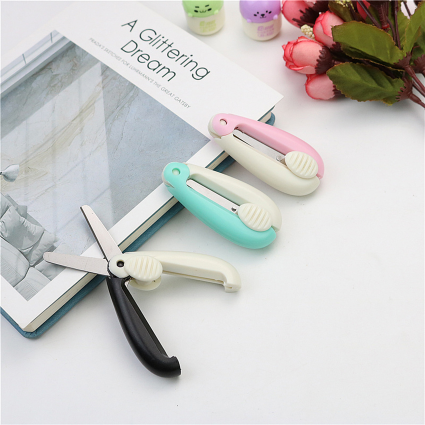 Push-pull Mini Folding Scissors Portable & Foldable Travel Scissors Cutter Pocket Paper String Craft Shred Scissors Stationery